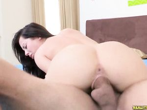 His Thickness Fills Her Young Pussy And Stretches It Out