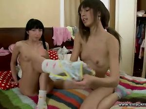 Sweet Teen Lesbian Moans With A Toy In Her Pussy