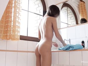 Sweet Pigtailed Girl Shaves Her Body In The Bathtub