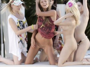 Group Of Teen Models Flashing Tits And Asses Outside