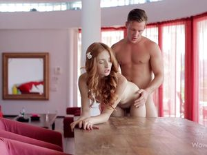 Redheaded Goddess Gobbles Knob And Gets Laid