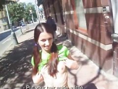 Skinny Brunette With Pigtails Getting Fucked
