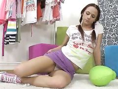 Teen Babe Enjoys Getting Her Tight Muff Pounded