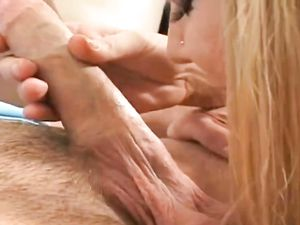 Blonde Babe With A Pierced Tongue Giving A Blowjob