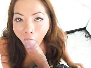 Stunning Brunette Sucking And Fucking Huge Dong