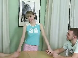 Horny Little Blonde Teen Getting Pleased By Two Rods