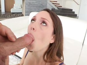 Brunette Babe With Nice Tits Sucking And Riding