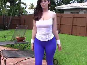Tight Blue Spandex Cling To Her Gorgeous Fat Ass