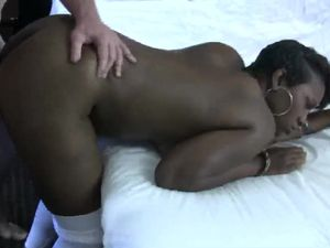 Black DD Cups Bouncing As White Dick Fucks Her