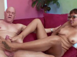 Latina Sits On Grandpa Cock And Rides Erotically