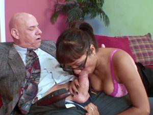Latina Sits On Grandpa Cock And Rides Erotically