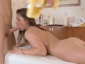Cumshot For The Big Butt Babe On His Massage Table
