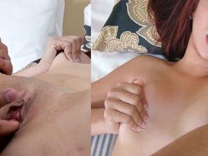 Busting His Creampie Deep Into Her Shaved Pussy