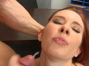 Natural Redhead Makes Her Teacher Cum In Class