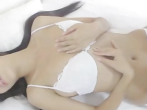 Fondling Her Perfect Tits And Fucking Her Dildo